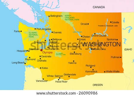 Vector color map of Washington state. Usa