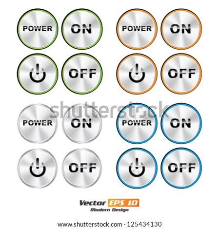 Vector color ON - OFF Power button set