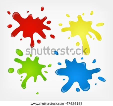 vector color paint splashes