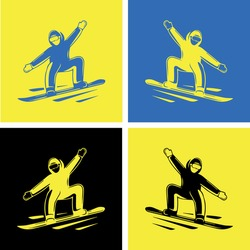 vector color picture of a man on a snowboard, snowboarder