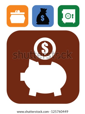 vector color piggy bank and money set on white