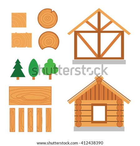 vector color set of wood house