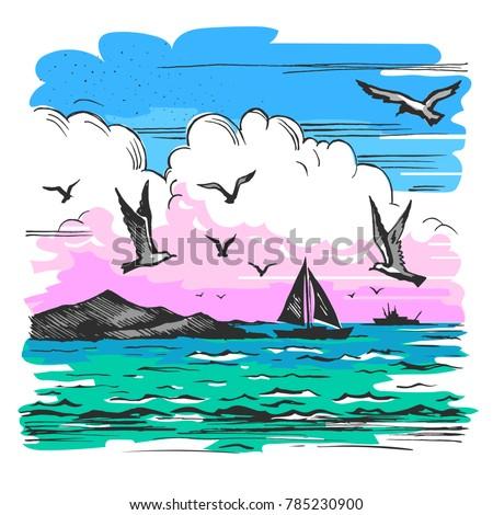 vector color sketch of a sea...