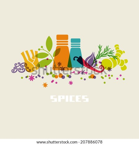 vector color spices and herbs