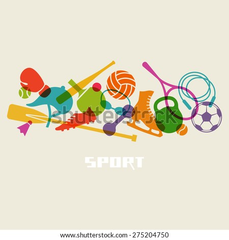 Vector color sport equipment icon. Healthy lifestyle concept sign. Fitness illustration for print, web #275204750