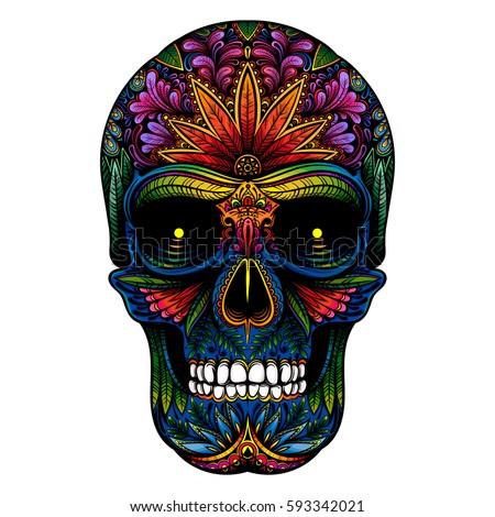 vector color tattoo skull on