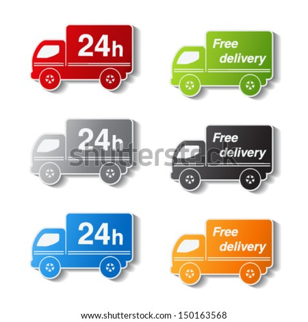 Vector color truck symbols - delivery within 24 hours and free delivery