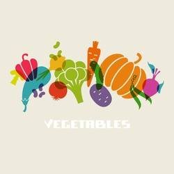 Vector color vegetables icon. Food sign. Healthy lifestyle illustration for print, web