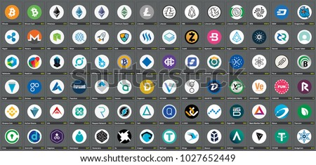 Vector color version logos of cryptocurrency coins ICOs and tokens