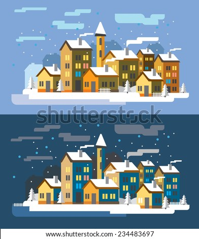 vector color Village landscapes two flat illustrations