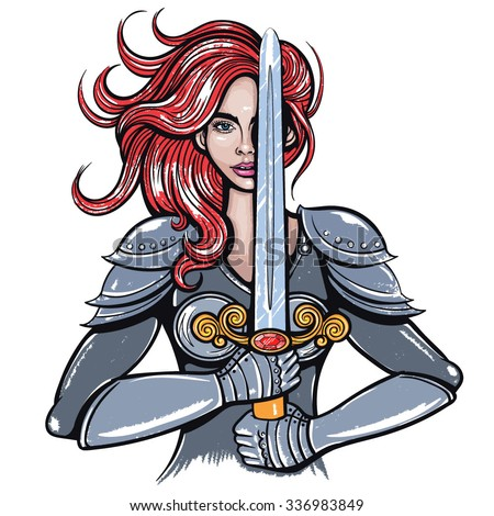 vector color warrior woman