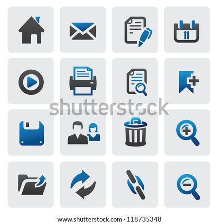 vector color web icons set on gray