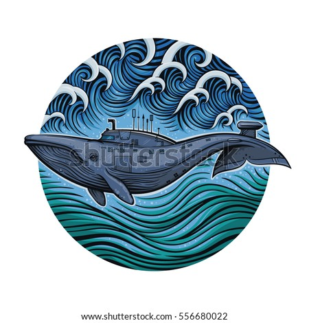 vector color whale submarine on