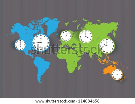 Vector color world Map with time zones