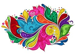 Vector Colored Floral Background. Hand Drawn Ornament with Flowers. Template for Greeting Card