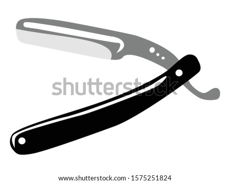 Vector, colored illustration of opened, dangerous razor. Flat style, top view. Motives of shaving, everyday usage, home object, old-fashioned design, retro-styled, bathroom, accessory for men