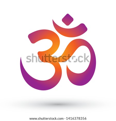 Vector colored Om symbol with shadow. Isolated on white background. Stockfoto ©