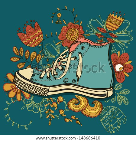 vector colored pattern gym shoes on grunge background