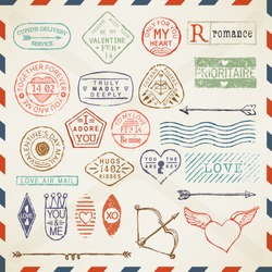 Vector colored romantic postage stamp set with valentines day words and titles | Everything for your valentine letter decoration