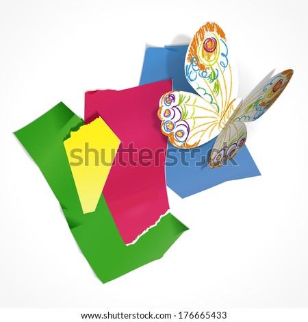 vector colored scraps of paper