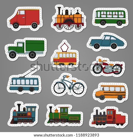 Vector colored set of retro engines and transport stickers. Vector illustration of vintage trains, bus, tram, trolleybus, car, bicycle, bike, van, truck. Illustration of old means of transport
