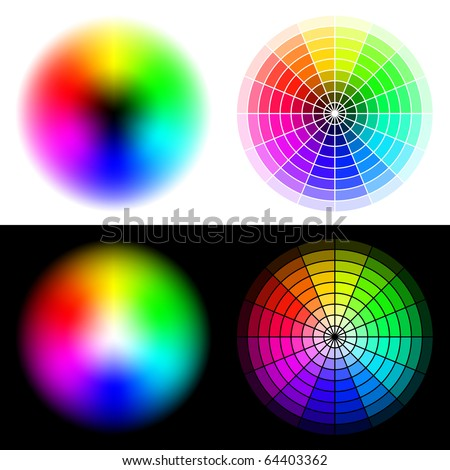 Vector colored wheels in HSV (HSB) color space. Created using gradient meshes and simple radial sectors.