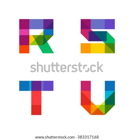 Vector colorful alphabet made of overlapping shapes. Beautiful vivid capital latin letters R S T V. Ready for poster or artwork design. Stock fotó ©