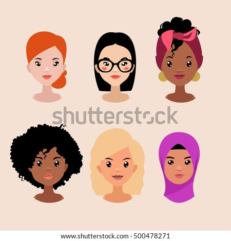 vector colorful avatar set of