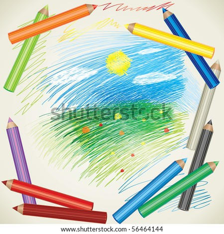 Vector colorful background with drawing of summer landscape and color pencils