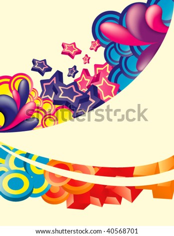 Vector. Colorful background with space for message. All elements are separated and can be used to make new composition. - stock vector