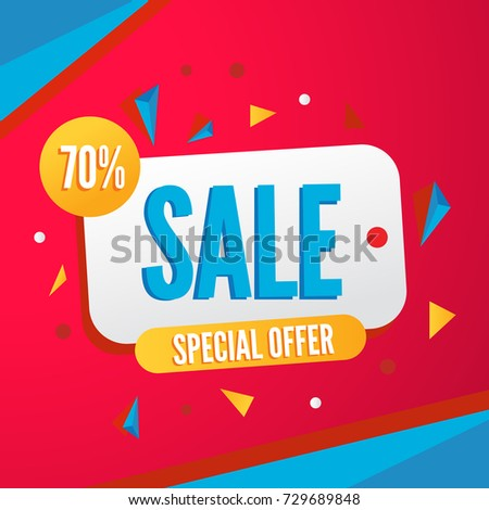Vector colorful banner for sale season with special offer on red background
