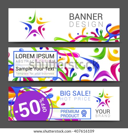 vector colorful banner made of bright stains logo people.