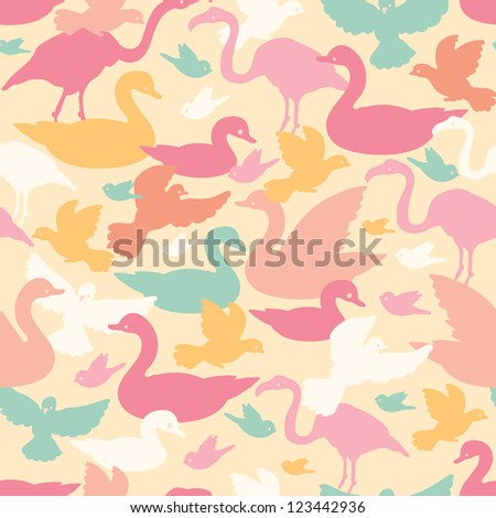 Vector colorful birds silhouettes seamless pattern background with hand drawn elements.