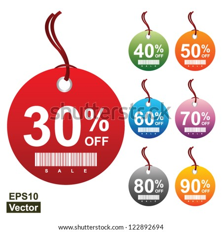 Vector: Colorful Circle 30 - 90 Percent OFF Sale Price Tag Isolated on White Background
