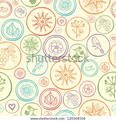 Vector colorful circles seamless pattern background with many symbols inside circles.