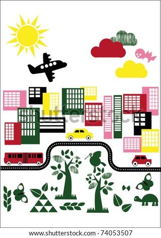 vector - colorful cityscape