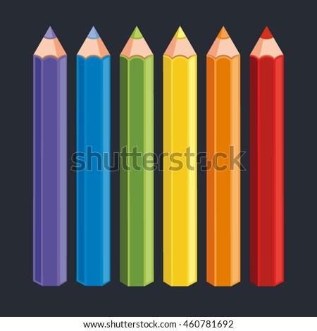 vector colorful crayon pencils