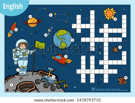 Vector colorful crossword in English, education game for children about space. Cartoon astronaut and cosmic objects