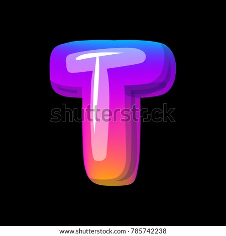 Vector Colorful Curvy Liquid 3d Volumetric Letter T On Black Bubble