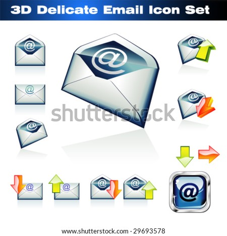 VECTOR Colorful 3D Emails Icon Set