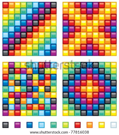 Vector Colorful Design Elements - four seamless mosaic patterns and set of shine square tiles