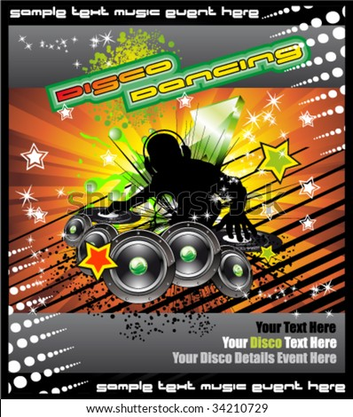 VECTOR Colorful Disk Jockey Musical Event  Background for Disco Flyer