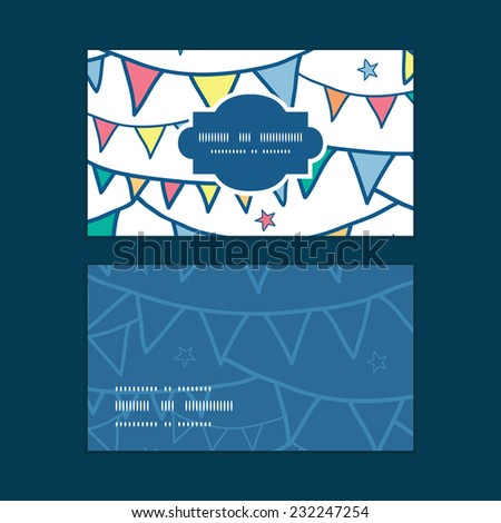 Vector colorful doodle bunting flags horizontal frame pattern business cards set