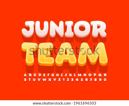 Vector colorful Emblem Junior Team. Cute 3D Font for Kids. Artistic Alphabet Letters and Numbers set Stock photo ©