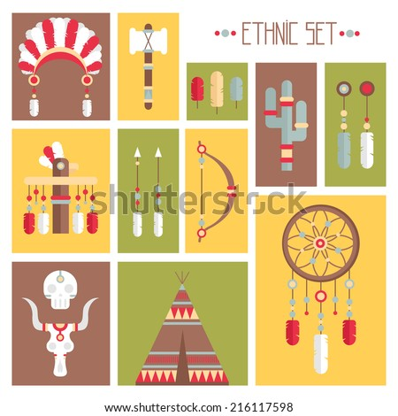 vector colorful ethnic set with