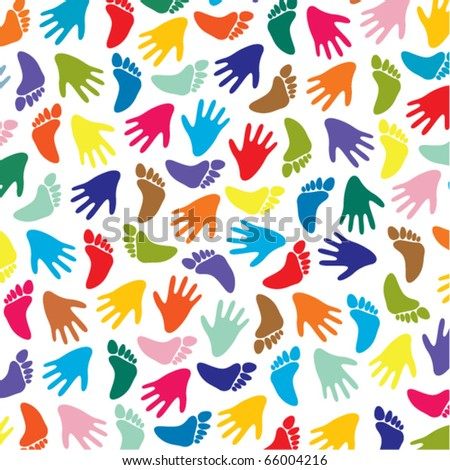 vector colorful feet and hands background - stock vector