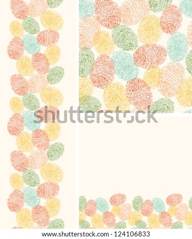 Vector colorful fingerprints seamless pattern background with hand drawn elements.