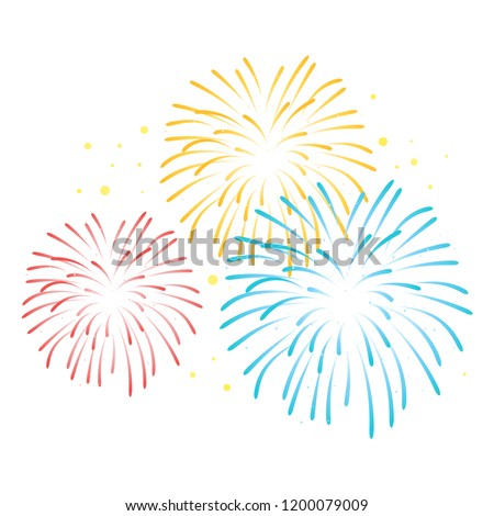 Vector colorful fireworks on white  background.