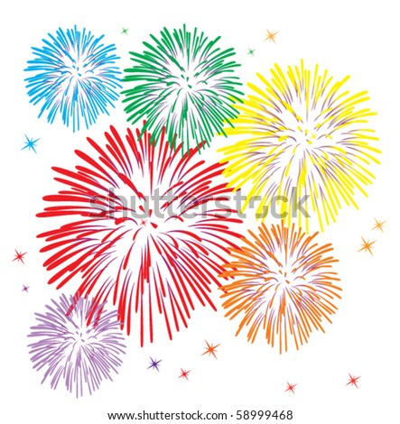 vector colorful fireworks on white background - stock vector