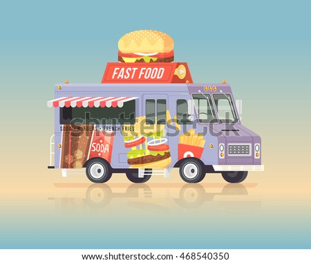 vector colorful flat fast food...
